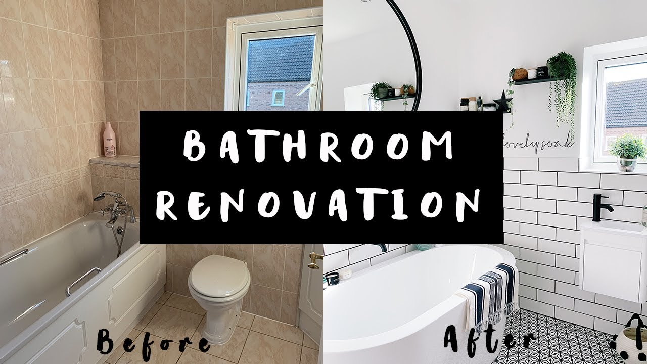 BATHROOM RENOVATION MAKEOVER TOUR BEFORE AND AFTER | AD*