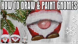 How to Draw & Paint Gnomes - Quick Christmas Holiday Decoration