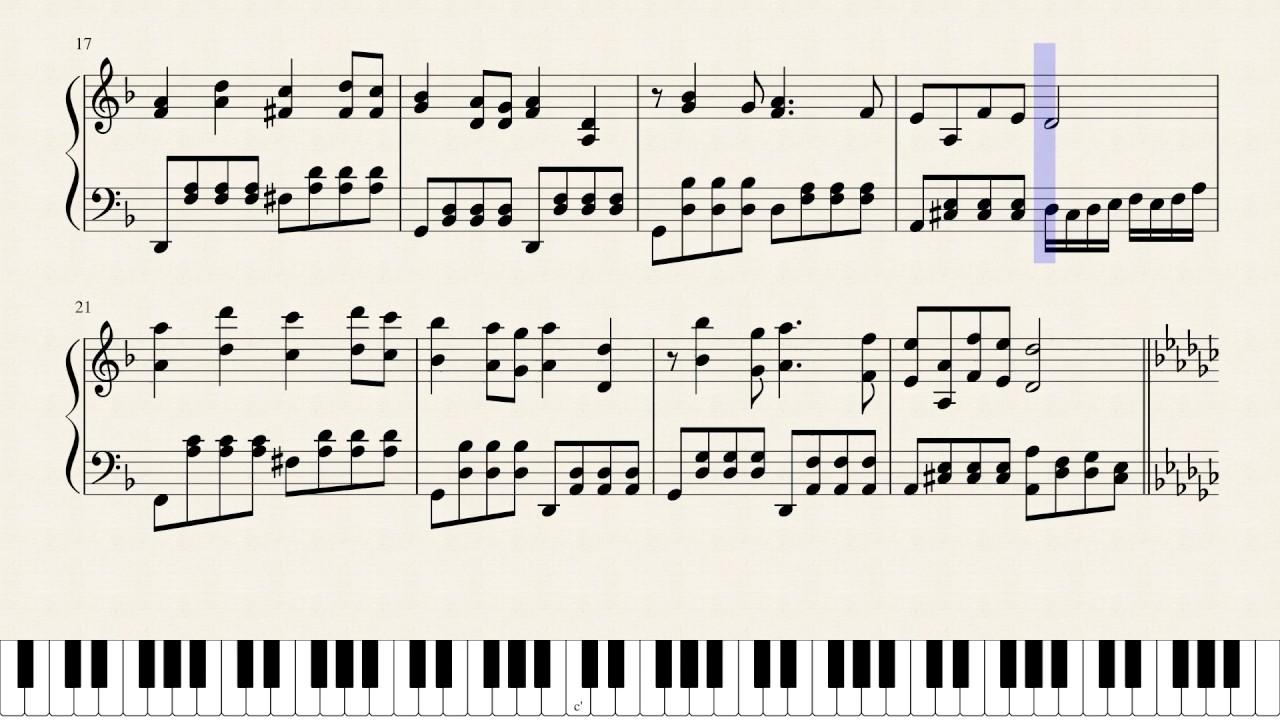 Katyusha - [animated Piano sheet music]
