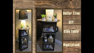 This side table night stand is made from Dollar trees mini crates/cube storage containers. It is Such a BUDGET friendly Side Table or