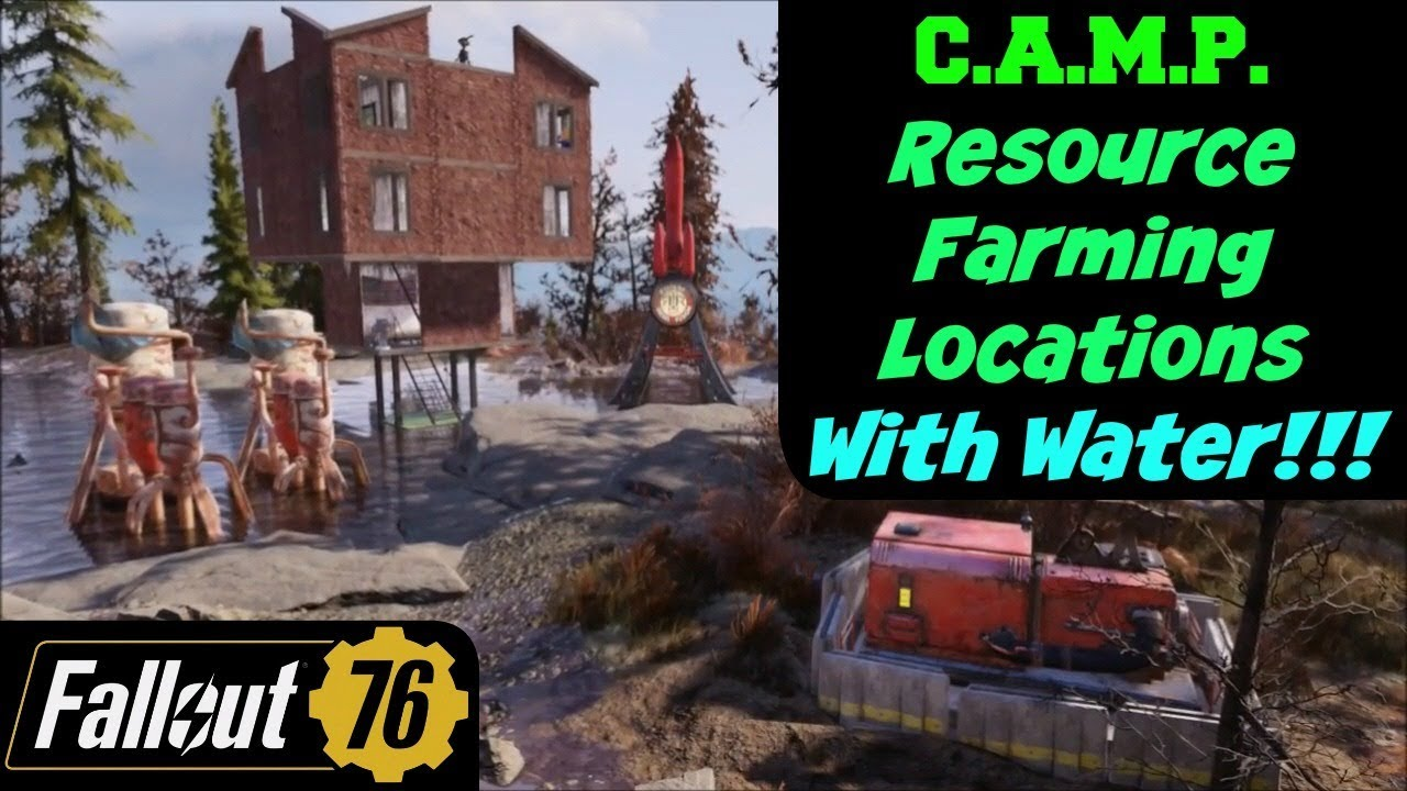 Fallout 76: C A M P  Resource Farming Locations with Water!