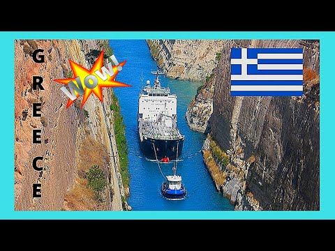 GREECE: Huge ship crossing historic CORINTH CANAL, spectacular views