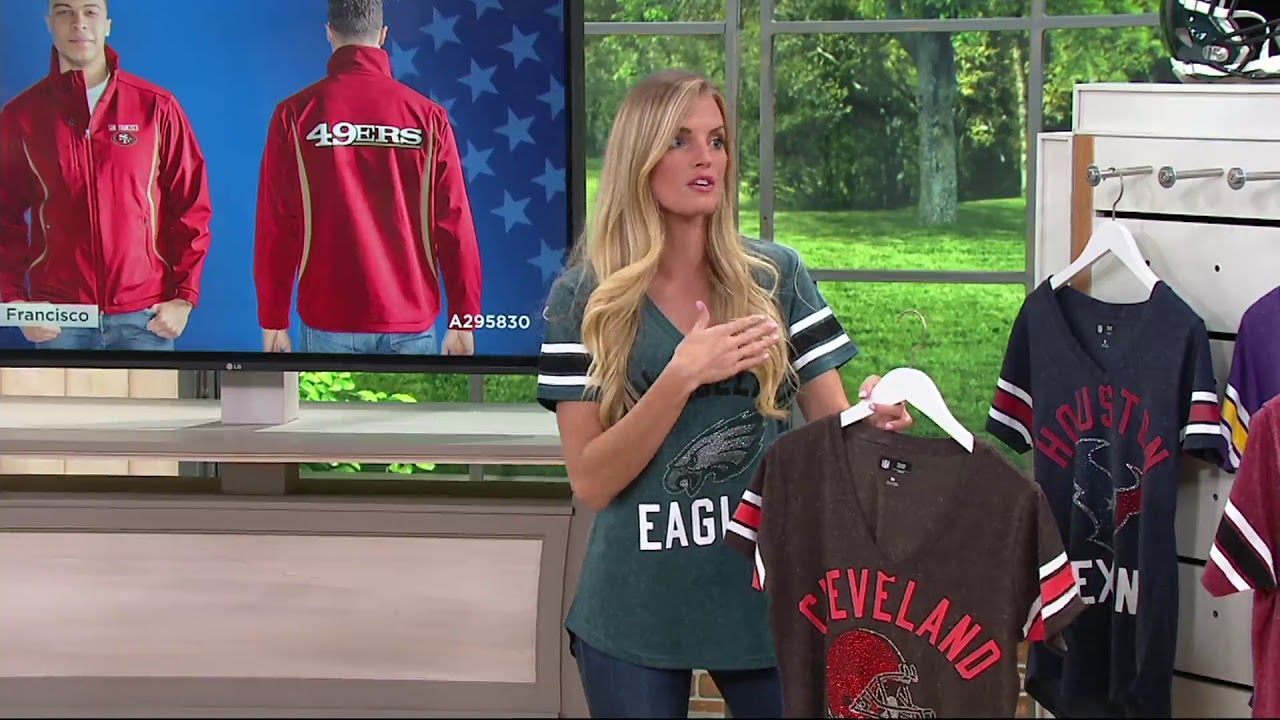 huge selection of 9e8bf 58eea NFL Womens Short Sleeve V-Neck T-Shirt with Gems on QVC