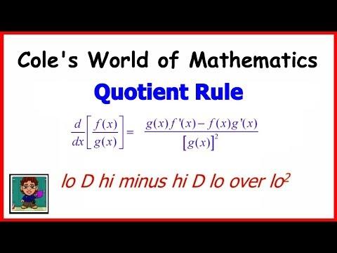 Calculus: Quotient Rule for Derivatives
