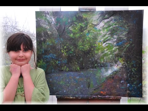 Abigail, 11 yrs. old, paints using Acrylics.