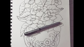 drawing flowers in a vase