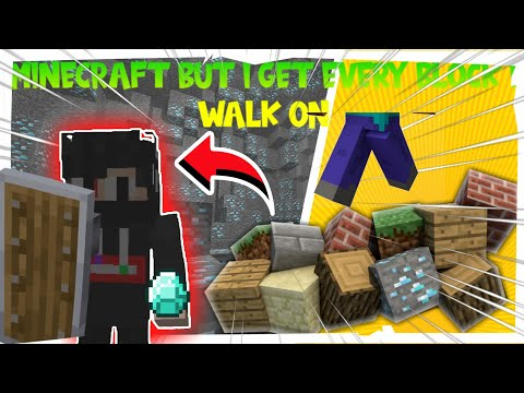 MINECRAFT BUT, I GET EVERY BLOCK I STEP ON || MCPE ||