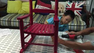 child rocking chair Assembled by Six Years Old Boy