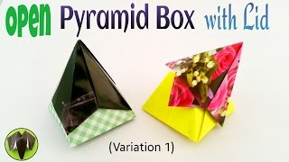 "Origami tutorial to make a paper ""Open Pyramid Box with Lid"""