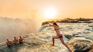 Download 世界最危險的魔鬼游泳池,110米高沒有護欄,遊客爭著往下跳,贊比亞津巴布韋維多利亞瀑布,Devil's Pool Victoria Falls Zambia & Zimbabwe