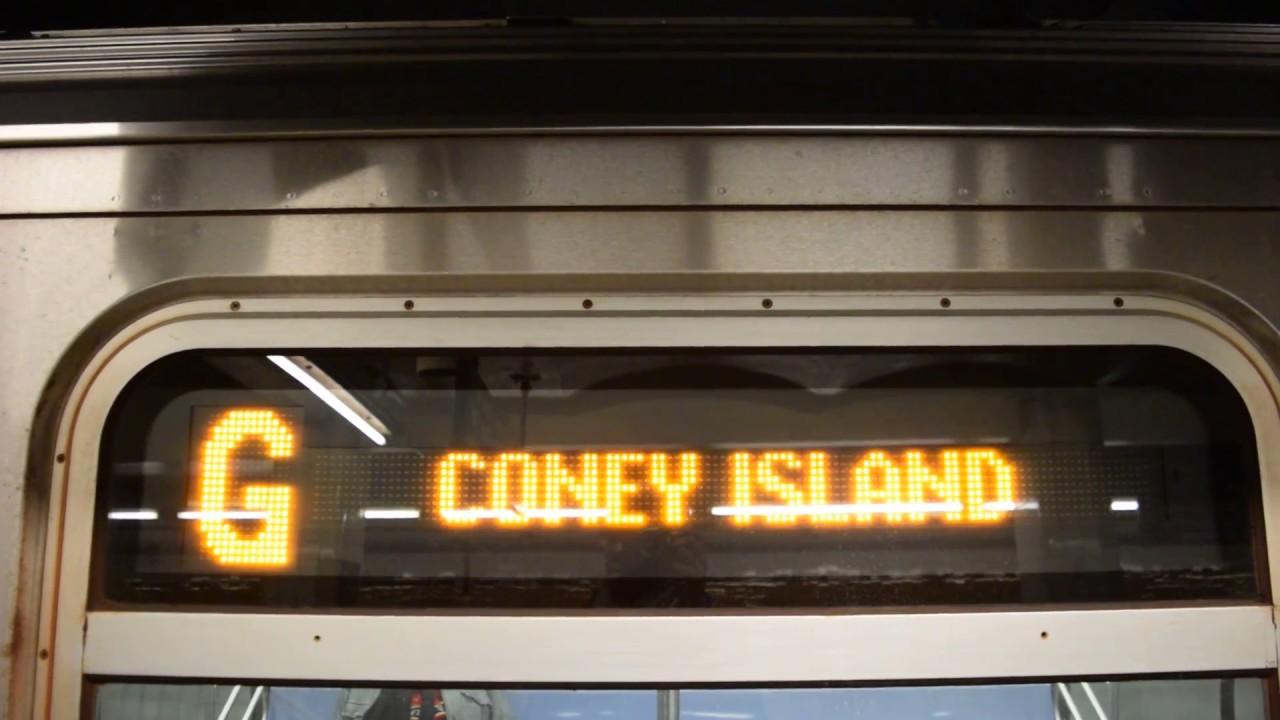 Coney Island-Stillwell Avenue-bound R160A-2 (G) train at ...