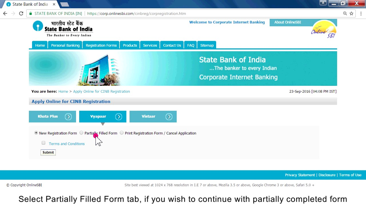 online account registration sbi