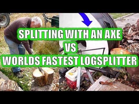 Splitting With An Axe Vs Flywheel Logsplitter Youtube