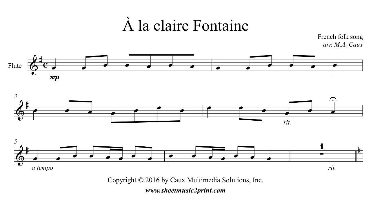 Uncategorized A La Claire Fontaine la claire fontaine flute youtube