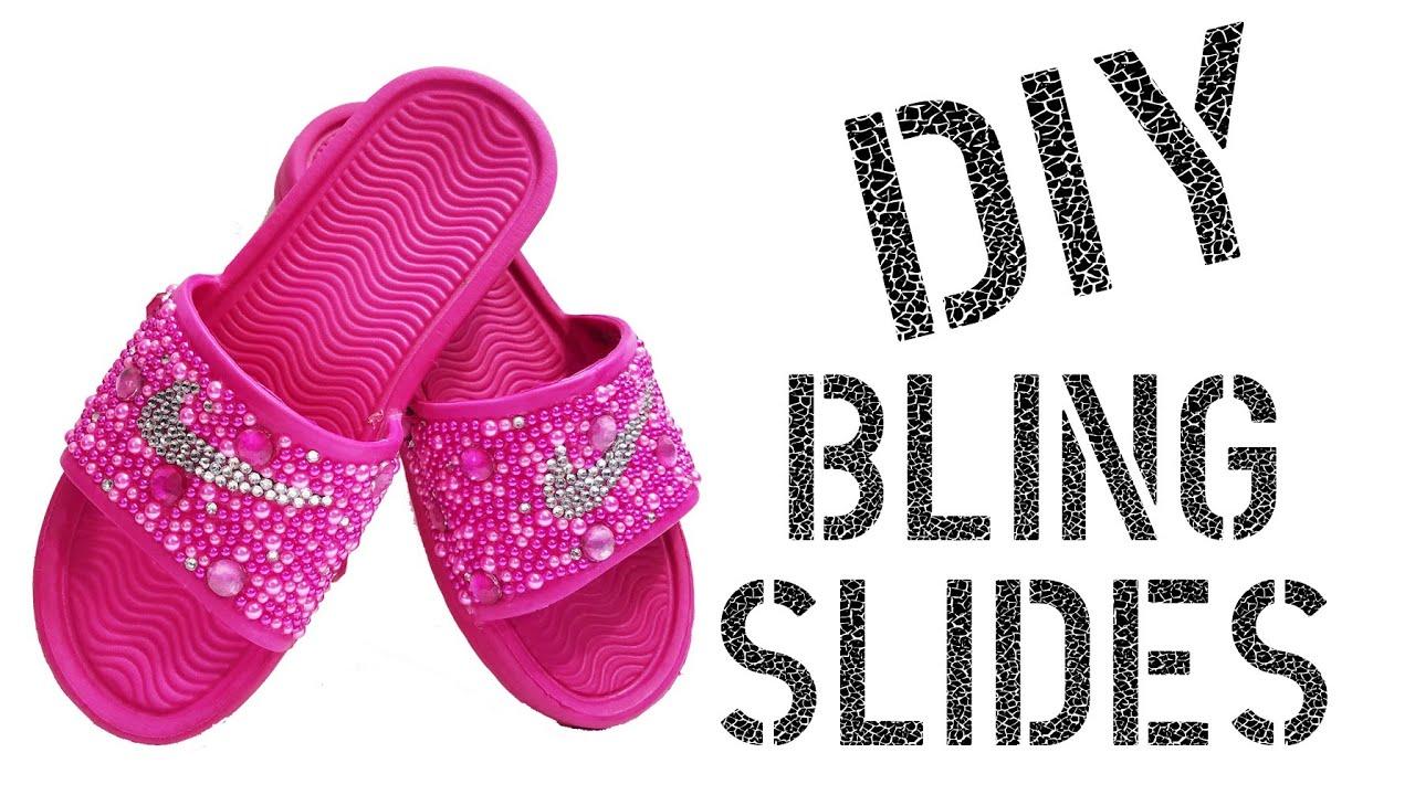 847f2568466 DIY How To Make Rhinestone Nike Slides - YouTube