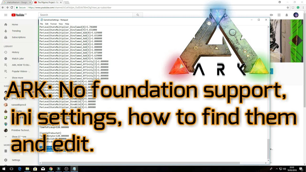 Ark Survival Evolved: No foundation support, ini settings, how to find the  ini folder and edit
