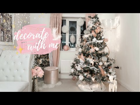 DECORATING MY HOUSE FOR CHRISTMAS 2018 | BLUSH PINK + FAUX FUR TREE
