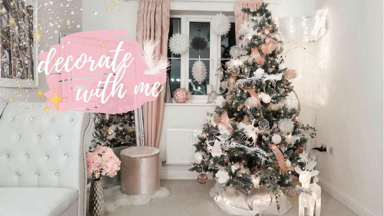 Decorating My House For Christmas 2018 Blush Pink Faux Fur Tree