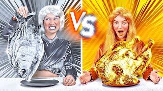 TANTANGAN EMAS VS PERAK! Makan Semua yang 1 Warna dalam 24 JAM! Trik Tik Tok oleh 123 GO! CHALLENGE