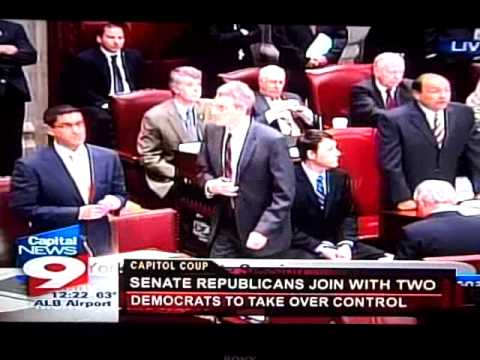 Coup in New York State senate - Republicans Take Control  (footage)