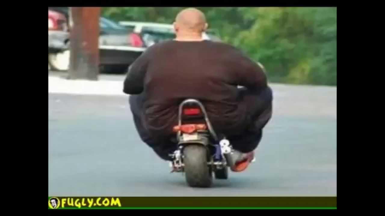 fat naked man on motorbike