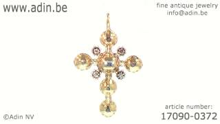 Antique gold cross with table cut rose cut diamonds 18th century. (Adin reference: 17090-0372)