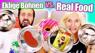 EKLIGE BOHNEN VS REAL FOOD Challenge| KAAN VS NINA - Wie schmeckt Hundefutter?Bean Boozled als Essen