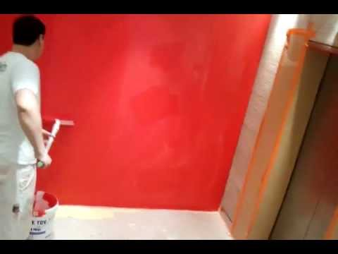 application de peinture rouge au rouleau youtube. Black Bedroom Furniture Sets. Home Design Ideas