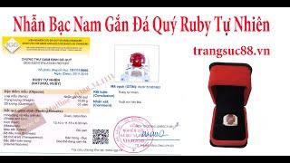 Nhẫn Bạc Nam Gắn Đá Ruby Tự Nhiên Yên Bái, Đá Cấp Kiểm Định - Ruby_nB03
