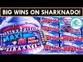 MULTIPLE MAXI JACKPOTS! Sharknado Slot Machine - WHO HAD THE BIGGER WIN?