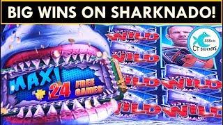 MULTIPLE MAXI JACKPOTS! Sharknado Slot Machine - WHO HAD THE BIGGER WIN?