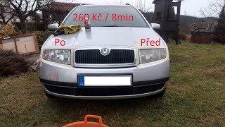Rozleštění světel snadno a rychle 260 Kč/8 min Fabia / car light polishing fast and cheap