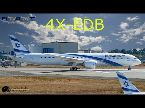 El Al Israel Airlines 2nd B787-9 dreamliner (4X-EDB) first flight+RTO+gear drop test @ PAE