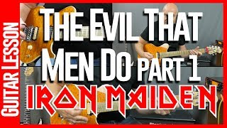 The Evil That Men Do By Iron Maiden - Guitar Lesson Tutorial - Rhythm Guitar Parts
