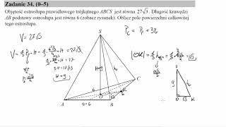 Objętość ostrosłupa prawidłowego trójkątnego ABCS jest równa 27√3  Długość krawędzi AB podstawy ostr