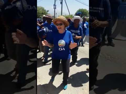 Helen Zille dances with EFF and DA members