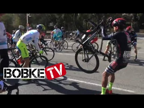 Wind knocks over cyclists video
