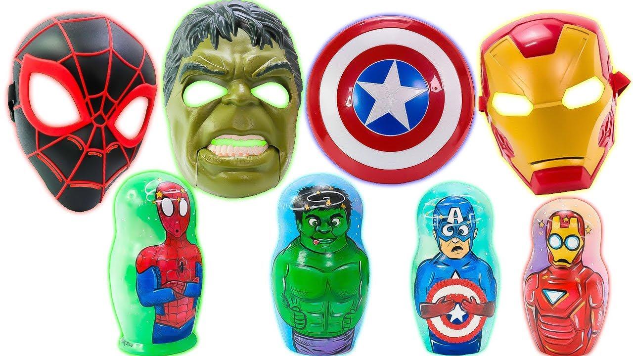 Матрешки и Маски Марвел Человек Паук, Халк, Железный ...