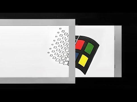 Optical Illusion Old Windows Logo -  How To Make Magic Card Paper