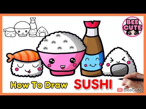 สอนวาดรูปซูชิ และระบายสี   วาดรูปอาหารแบบง่ายๆ น่ารักๆ   How to draw Sushi easy step by step