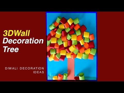 DIY How to make Beautiful 3D Wall Decoration Tree -Diwali decoration ideas