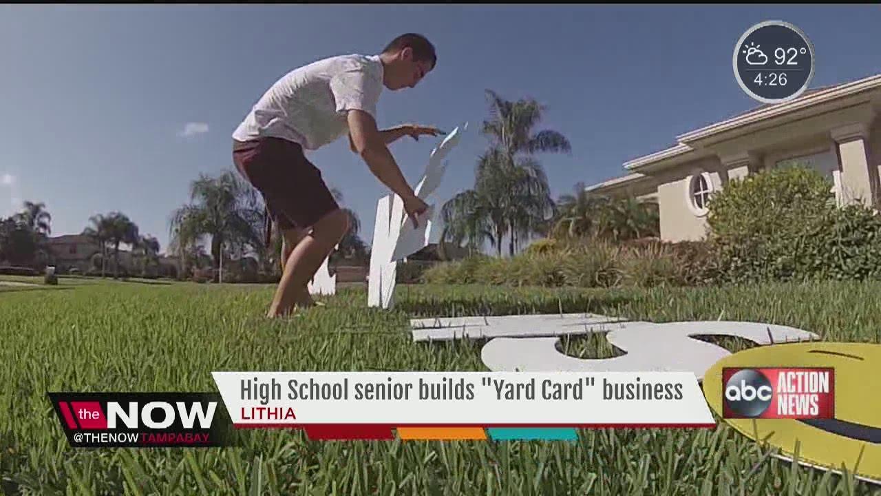 High School Senior Starts Yard Card Business Youtube