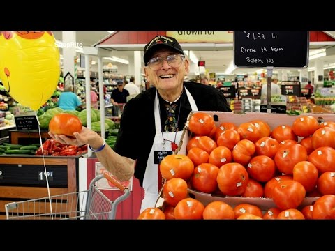 A senior citizen who bags groceries at a New Jersey supermarket has an interesting past