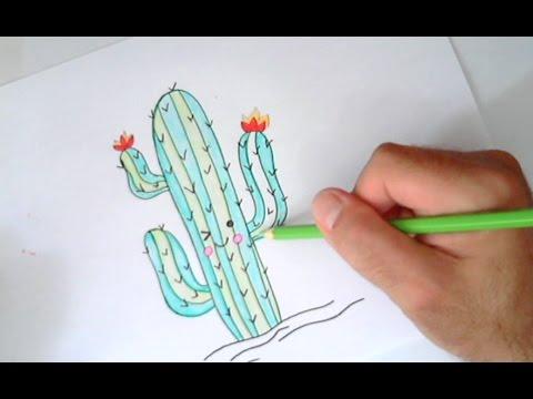 Como desenhar Cactus Kawaii