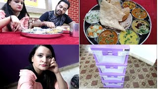 Trying Out Rs 99 Thali/Cheapest Thali   My New Makeup Storage  Dailyvlogs
