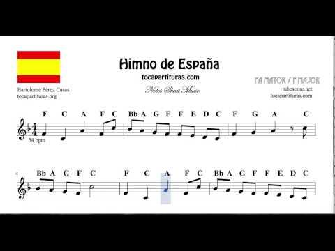 National Anthem of Spain Notes Sheet Music in F Major for Flute Violin Recorder Oboe