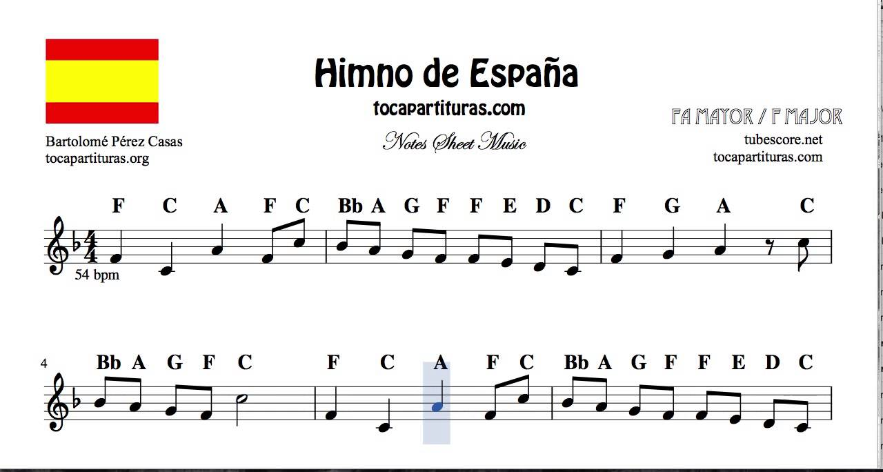 National Anthem of Spain Notes Sheet Music in F Major for