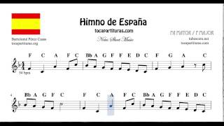 National Anthem of Spain Notes Sheet Music in F Major for Flute Violin Recorder Oboe