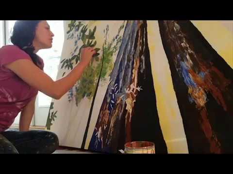 Artist Cedar Lee Working in the Studio. Painting: Sun & Shadows