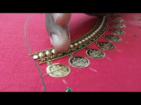 Lakshmi coin neck design in Aari embroidery